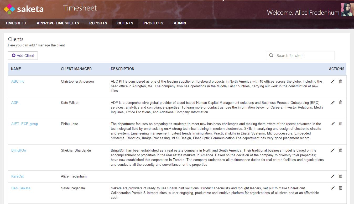 Saketa SharePoint Timesheet App | Time Tracking App